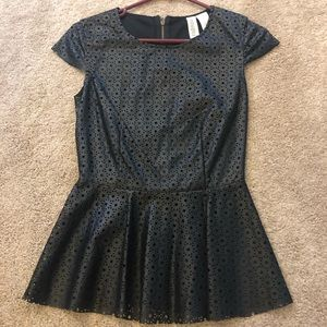 Black pleather peplum shirt
